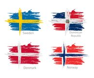 Set of smear painted flags of different countries. Collection set of flags countries smears and paint stains Stock Images