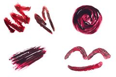 Set of smears made with red lipstick Royalty Free Stock Photos