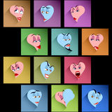 Set Smile Avatar Icon Heart Emotion Flat Shadow Valentines Stock Images