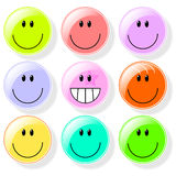 Set of smile buttons Stock Photos