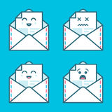 Set of smile emoji emoticon face in email with a lot of variation. Modern flat icons design. Stock Photography