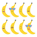 Set smile emoticon face in banana. Royalty Free Stock Images
