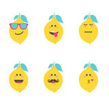 Set smile emoticon face in lemon. Stock Images