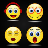 Set smile happy yellow smile  icon, vector Royalty Free Stock Photo
