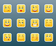 Set of smile stickers. Set of 12 cute emoticon smile stickers Royalty Free Stock Photos