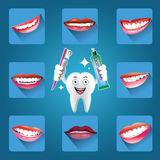 Set of smiles with Cartoon Smiling tooth Stock Images