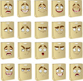 Set of smiles clean paper bags for food Royalty Free Stock Images