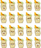 Set of smiles clean paper bags with health food stock images