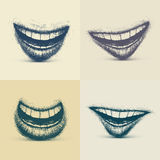 Set of Smiles. In grunge style, eps 10 Royalty Free Stock Image