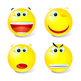 Set of smiles1. Cheerful,winking,surprised and angry smiles Stock Photography
