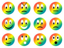 Set of smiley - 3D render. Set of rainbow smiley with different emotions in white background Royalty Free Stock Photos