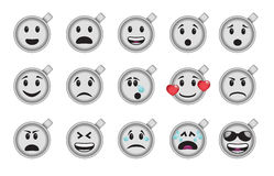 Set of smiley empty coffee cup icons Stock Image