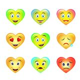 Set of smiley face icons emoticons with different facial expressions on white background stock illustration