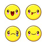 Set of smiley face icons or yellow emoticons with different facial expressions i isolated in white background. Flat royalty free illustration