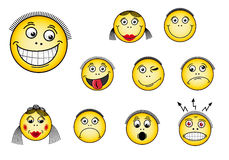 Set of smiley faces stock illustration