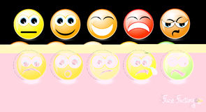 Set of smiley faces on black background Royalty Free Stock Photography