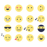 Set smiley icons for applications and chat. Emoticons with different emotions isolated on white background. Stock Photos