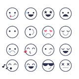 Set smiley icons for applications and chat. Emoticons with different emotions isolated on white background. Stock Photo
