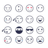 Set smiley icons for applications and chat. Emoticons with different emotions isolated on white background. Royalty Free Stock Photography