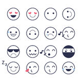 Set smiley icons for applications and chat. Emoticons with different emotions isolated on white background. Stock Photography