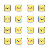 Set smiley icons for applications and chat. Emoticons with different emotions isolated on white background. Stock Images