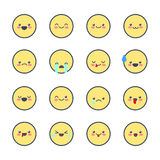Set smiley  icons for applications and chat. Emoticons with different emotions isolated on white background. Royalty Free Stock Images