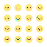Set smiley icons for applications and chat. Emoticons with different emotions isolated on white background. Vector illustration Stock Images