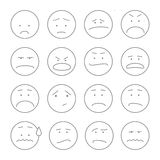 Set of smiley icons: different emotions outline Stock Photography