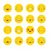 Set of smiley icons with different face Stock Photos