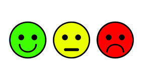 Set of 3 smiley icons. Sad, neutral, smiled. Set of three vector in white color outlined Royalty Free Stock Photography