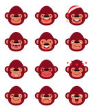 Set smiley monkey  on white Royalty Free Stock Photo