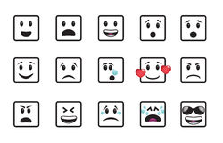 Set of smiley square icons Royalty Free Stock Image