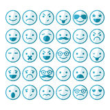 Set of smileys in different emotions and moods Royalty Free Stock Images