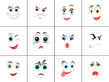 Set of Smileys with Expression of Emotions. Funny emoticons expressing anger, happiness, sadness, joy, surprise, wonder, amazement. Different mood states Royalty Free Stock Photo