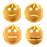 Set of smileys and fast food fries Royalty Free Stock Photo
