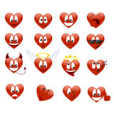 Set of smilies. Of heart shape with many emotions. Vector illustration Royalty Free Stock Images