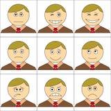 set smilies för kontor Royaltyfri Illustrationer
