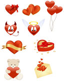 Set of smilies and icons. Set of romance smilies and icons. Vector illustration Stock Images