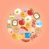 Set of smiling breakfast food in a circle shape Royalty Free Stock Photos