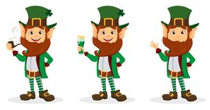 Set of smiling cartoon character leprechaun Stock Image
