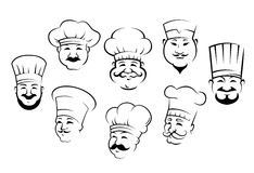 Set of smiling chefs heads Royalty Free Stock Photos