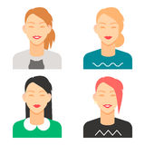 Set of smiling female avatars, isolated flat vector image. For your projects Stock Photo