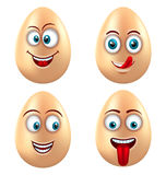 Set Smiling Funny Eggs. Positive Emotions Stock Images