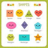 Set of smiling geometric figures. Comic cartoon characters for children education. Basic geometric shapes. Vector illustration Stock Photos