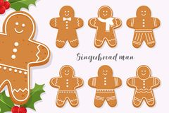 Set of smiling gingerbread man. Holiday sweet cookie isolated on light background. Symbol of Merry Christmas and Happy New Year. Cartoon vector illustration vector illustration
