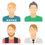 Set of smiling male avatars, isolated flat vector image. For your projects Royalty Free Stock Images