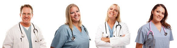 Set of Smiling Male and Female Doctors or Nurses Stock Images