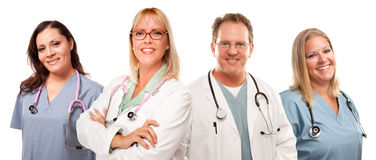Set of Smiling Male and Female Doctors or Nurses. Isolated on a White Background Royalty Free Stock Photography