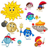 Set of  smiling planet of solar system Stock Image