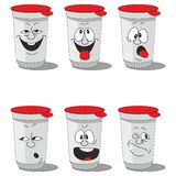 Set smiling plastic cups Stock Photo